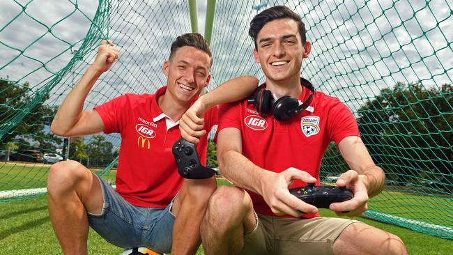 Adelaide United has selected Jamie O'Doherty (right) to represent it in the E-League. His brother Jordan O'Doherty plays for Adelaide United's A-League team. Picture: Tom Huntley