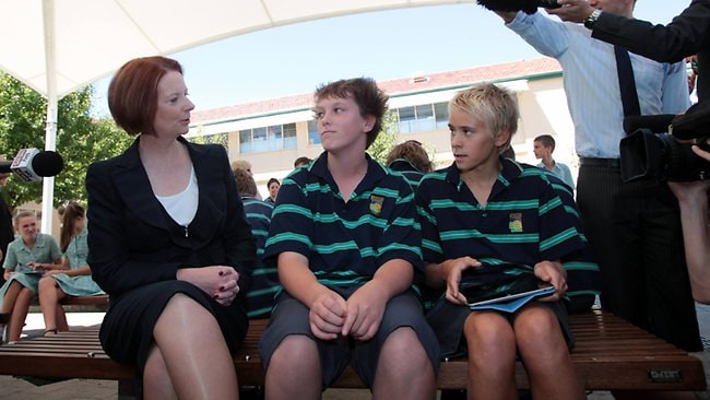 Prime Minister Julia Gillard visits Brighton Secondary in Adelaide after announcing she will hold a ballot for the leadership. Picture: Kelly