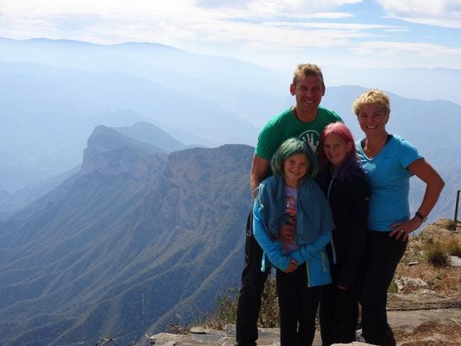 The family takes in the stunning view at Sierra Gorda, Mexico. Picture: Gary Burchett