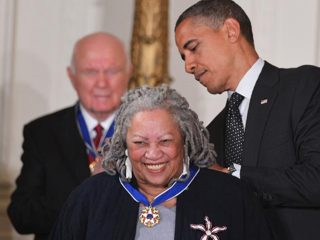 In this file photo taken on May 29, 2012 US President Barack Obama presents the Presidential Medal of Freedom to author Toni Morrison. Picture: AFP