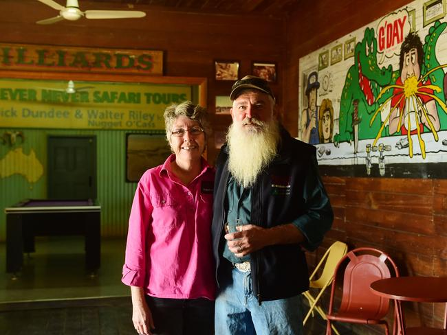 Publicans Frank and Debbie Wust at the Walkabout Creek Hotel in McKinlay. Picture: Evan Morgan
