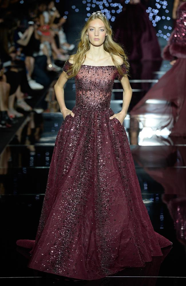 Adele's dress made its debut on the runway of Zuhair Murad's show at Paris Fashion Week Haute Couture Fall/Winter 2015/2016. Picture: Getty