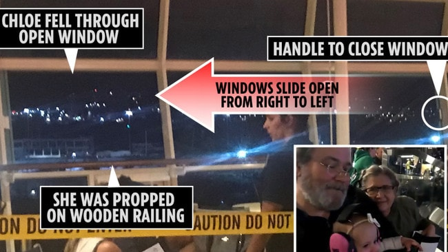 The window where Chloe fell to her death on board the 'Freedom of the Seas' cruise ship