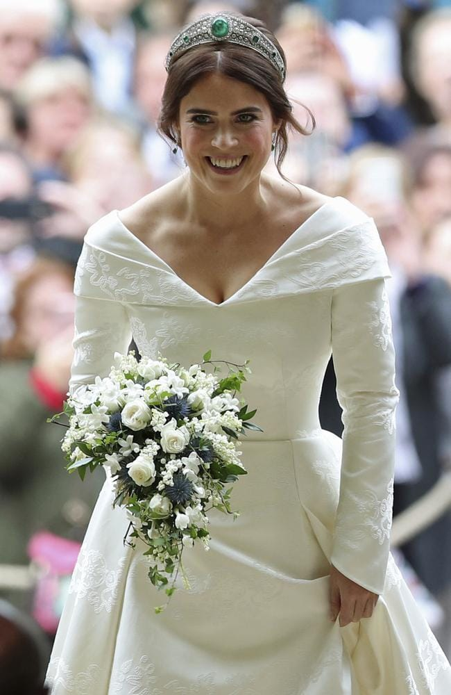 Princess Eugenie arrives for her wedding to Jack Brooksbank. Picture: AP