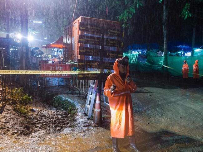 Heavy rain pouring down on northern Thailand is increasing the risk for the remaining nine. Picture: AFP Photo / Ye Aung Thu