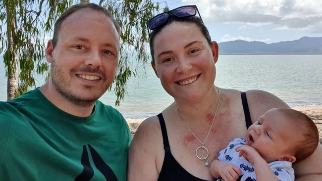 Ashlee Holstein died suddenly after falling ill with a mystery sickness leaving behind her six-week-old son and husband, Adam. (pictured). Picture: Facebook/AdamHolstein