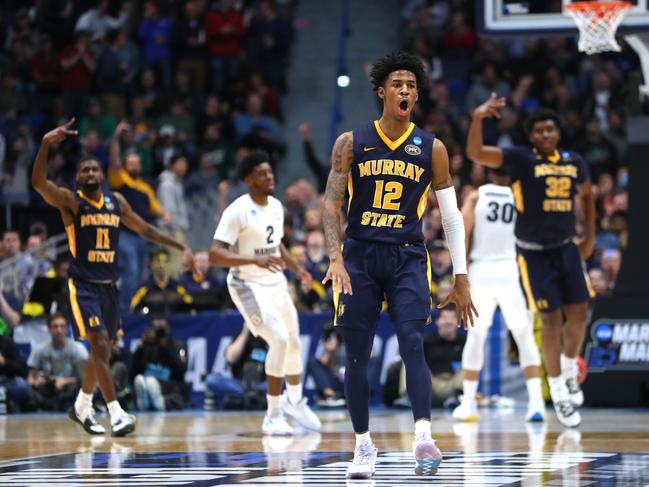 Ja Morant celebrates scoring during the first round of the 2019 NCAA Men's Basketball Tournament. Picture: Maddie Meyer/Getty Images/AFP