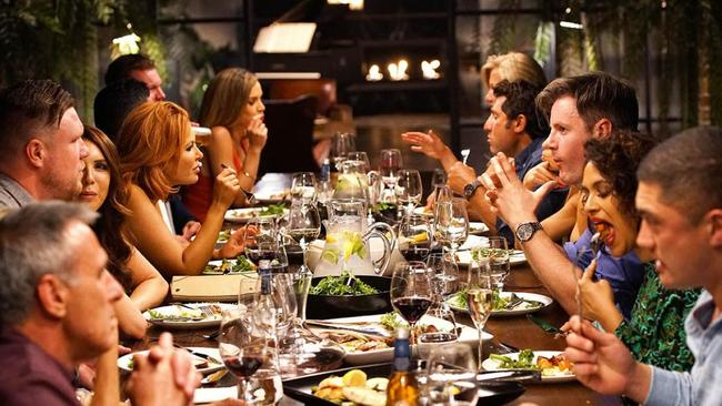 Last year's MAFS crew at a weekly dinner party.