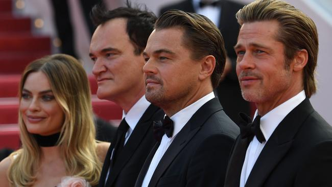 Margot Robbie, Quentin Tarantino, Leonardo DiCaprio and Brad Pitt on the Cannes red carpet. Picture: AFP