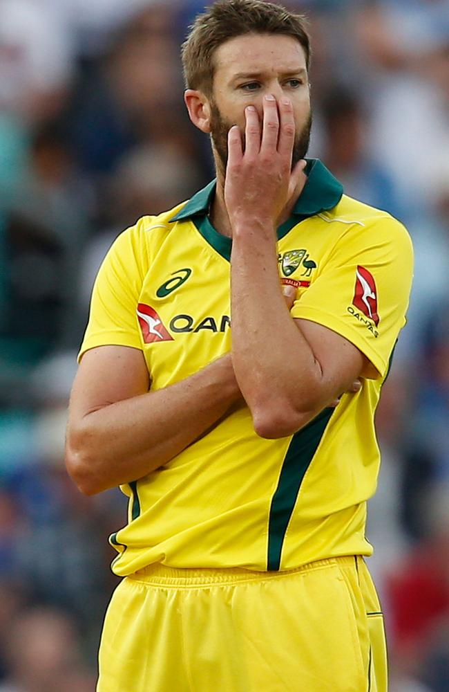 Andrew Tye perplexed the Poms with his knuckle ball. Picture: AFP.