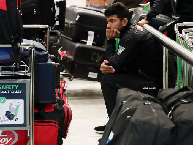 Members of the Banglebesh cricket team seen checking into Christchurch Airport ahead of their departure. Picture: AFP