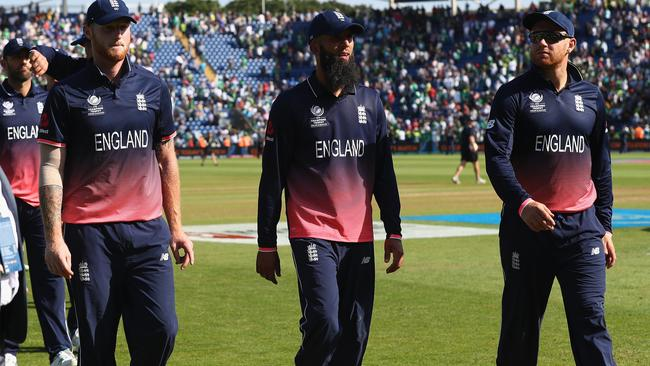 Ben Stokes (L) Moeen Ali (C) and Jonny Bairstow (R) walk off in defeat.