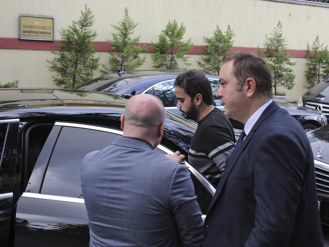 Saudi officials leave the consulate. Picture: Stringer/Getty Images