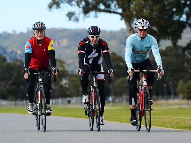 Professor Roly Sussex, Olympic cyclist Brett Aitken and Guitarist from 80s band Spandau Ballet, Gary Kemp take a ride on Adelaide's roads.