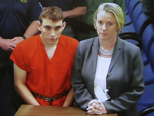 Nikolas Cruz and his lawyer make a brief appearance before Judge Kim Theresa Mollica in Fort Lauderdale, Florida, on Thursday. Picture: Susan Stocker/South Florida Sun-Sentinel via AP