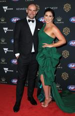 Ben Cunnington of the Kangaroos and wife Belinda on the red carpet at the 2019 Brownlow Medal ceremony. Picture: Mark Stewart