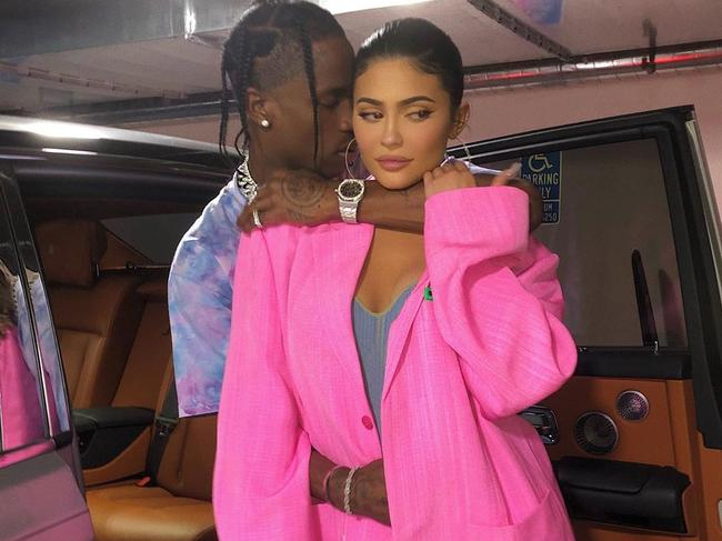 Kylie Jenner and Travis Scott were seen boarding a private jet carrying what appeared to be formal wedding attire. Picture: @kyliejenner/Instagram