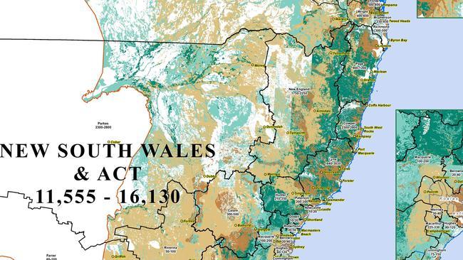 The Australian Koala Foundation's maps show the estimated population of koalas and they've available habitat.