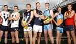 MELBOURNE, AUSTRALIA - JULY 02: (Names L-R) Elijah Taylor (WA), Deven Robertson (WA), Lachlan Ash (Vic Country), Caleb Serong (Vic Country), Matt Rowell (Vic Metro), Noah Anderson (Vic Metro), Tom Green (Allies), Mitch O'Neill (Allies), Will Gould (SA) and Jackson Mead (SA) pose for a photo during the 2019 NAB AFL Under-18 Championships media opportunity at Marvel Stadium on Jul 02, 2019 in Melbourne, Australia. (Photo by Dylan Burns/AFL Photos)