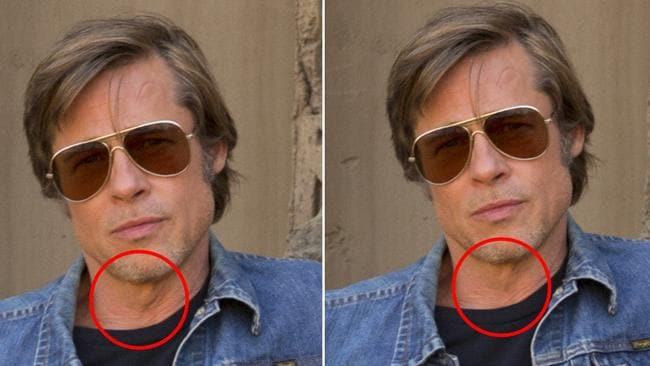 Brad Pitt's adam's apple was reduced in photoshop for the official 'Once Upon a Time in Hollywood' promo shots. Picture: Sony