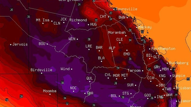 A BSCH weather forecast map shows the entire state of Queensland turning a dark purple colour due to extreme heat. Picture: BSCH