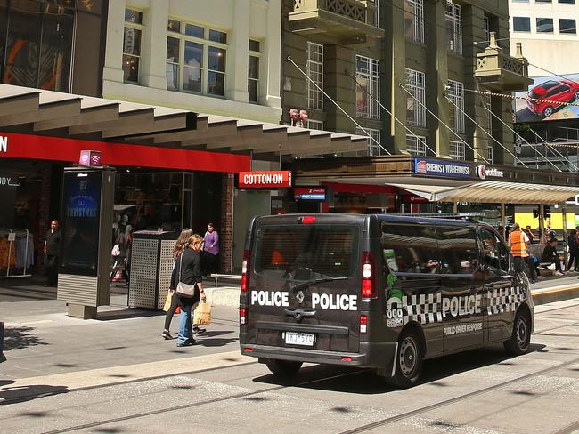 Victoria Police Public Order Response Team vehicles have been patrolling Melbourne's CBD since the attack. Picture: Scott Barbour