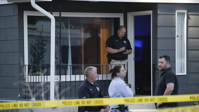 Detectives search a house in Salt Lake City in connection with Ms Lueck's disappearance. Picture: Francisco Kjolseth/The Salt Lake Tribune via AP