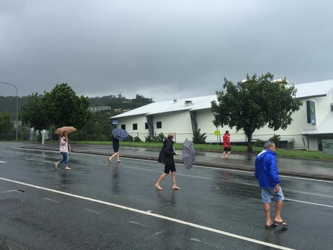 Tourists are among those caught up in Cyclone Debbie. Picture: Emma Reynolds