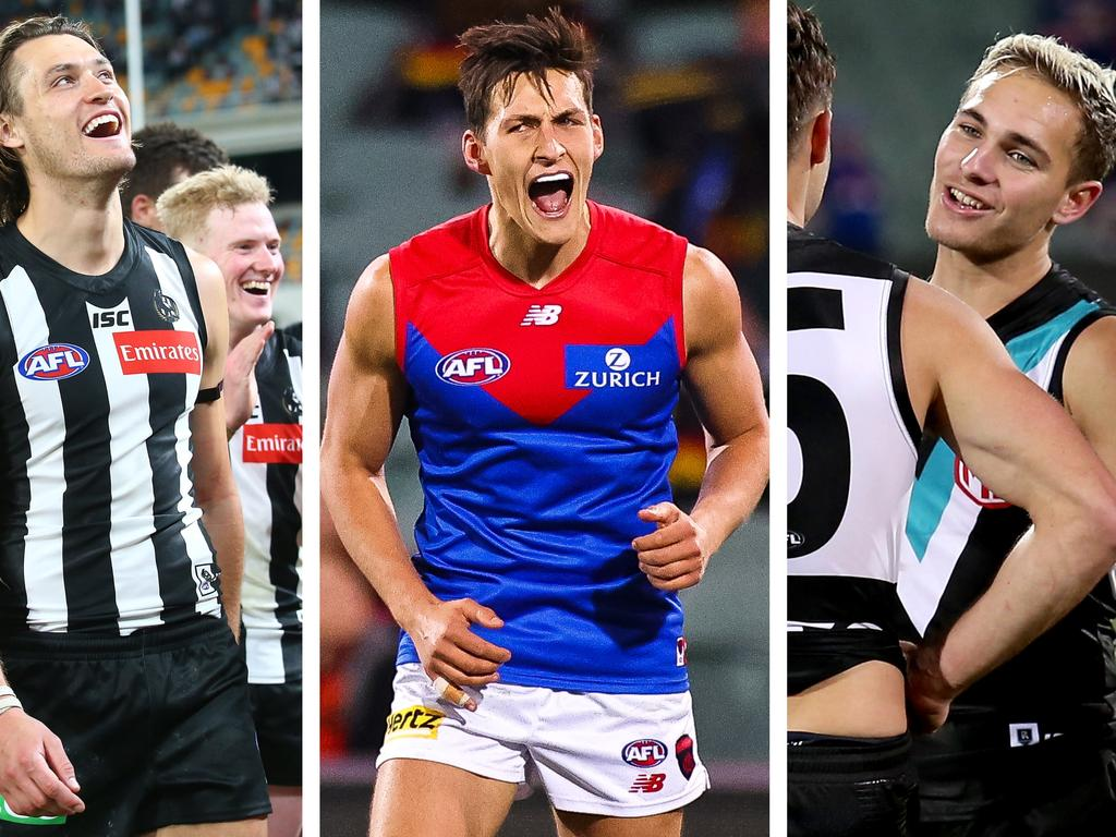 Report Card: Collingwood's Darcy Moore, Melbourne's Sam Weideman, Port Adelaide's Boyd Woodcock.