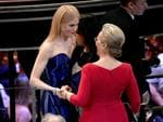 Nicole Kidman and Meryl Streep speak during the 90th Annual Academy Awards on March 4, 2018 in Hollywood, California. Picture: Getty