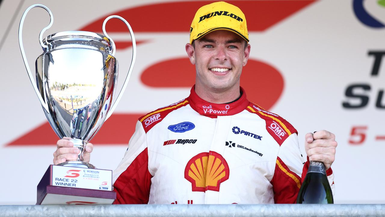 Scott McLaughlin celebrates the win. (Photo by Daniel Kalisz/Getty Images)