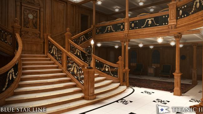 A vision of what the grand staircase may look like on Titanic II. Picture: AP