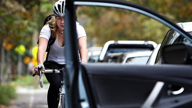 """Car dooring"" is a risk on cycle paths: Caitlin Rose, from Rosebery, in a cycle lane in Darlinghurst, Sydney. Picture: News Limited"