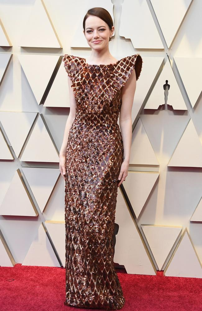 'Radiant!' Oscar-nominee Emma Stone, pictured at the 91st Academy Awards, had a facial by Georgia Louise before this red carpet appearance (wearing Louis Vuitton). Picture: Getty Images