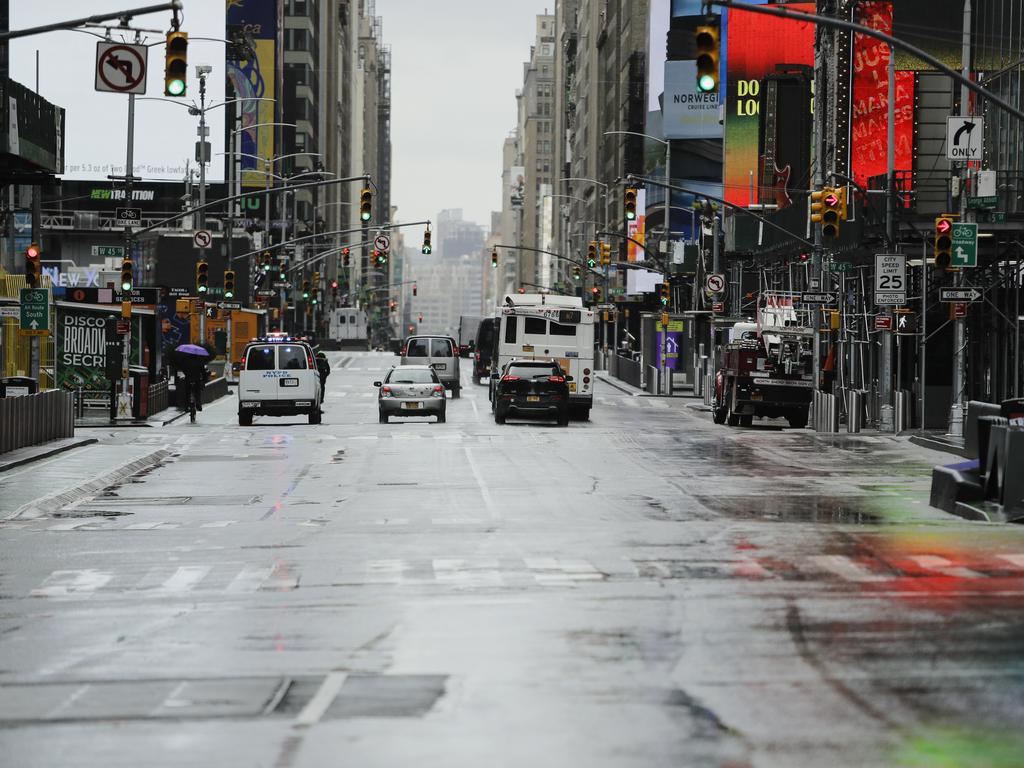 A near-empty Seventh Ave in New York. Picture: AP