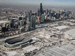 Snow and ice covers Soldier Field and the skyline as temperatures during the past two days have dipped to lows around -20 degrees on January 31, 2019 in Chicago, Illinois. Picture: Scott Olson/Getty Images/AFP