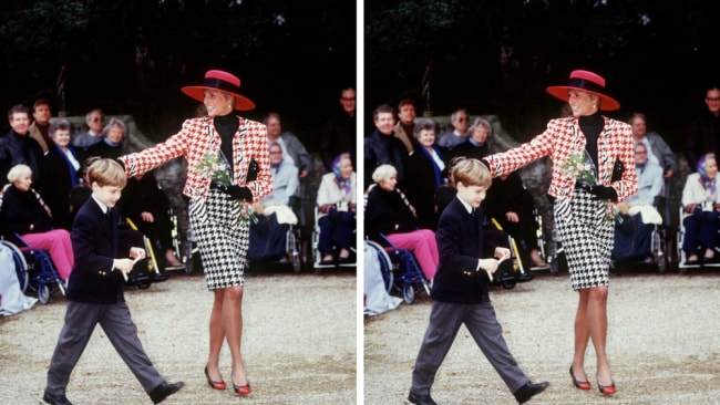 Princess Diana with Prince William in a Moschino houndstooth jacket. Goals. Image: Getty