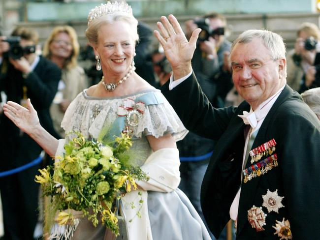 Queen Margrethe and Prince Henrik of Denmark on eve of their son, Danish Crown Prince Frederik's marriage to Australian Mary Donaldson in 2004.