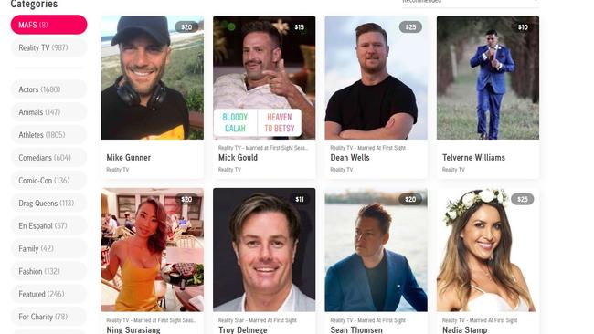 Some former MAFS stars are available to hire for personalised video messages.