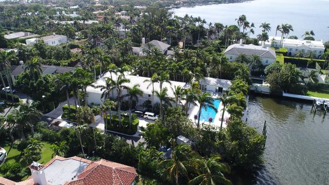 The home of Jeffrey Epstein has a large waterfront footprint in the Town of Palm Beach, not far from President Trump's Mar-a-Lago. (Pedro Portal/Miami Herald/TNS via Getty Images)