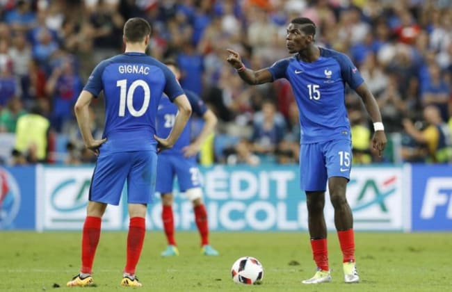 Paul Pogba points the finger at teammates after Portugal take the lead.
