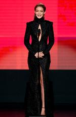 Co-host Gigi Hadid speaks onstage during the 2016 American Music Awards at Microsoft Theater on November 20, 2016 in Los Angeles, California. Picture: Getty