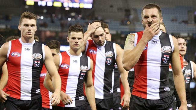 Jarryn Geary leads the Saints off. Pic: Michael Klein