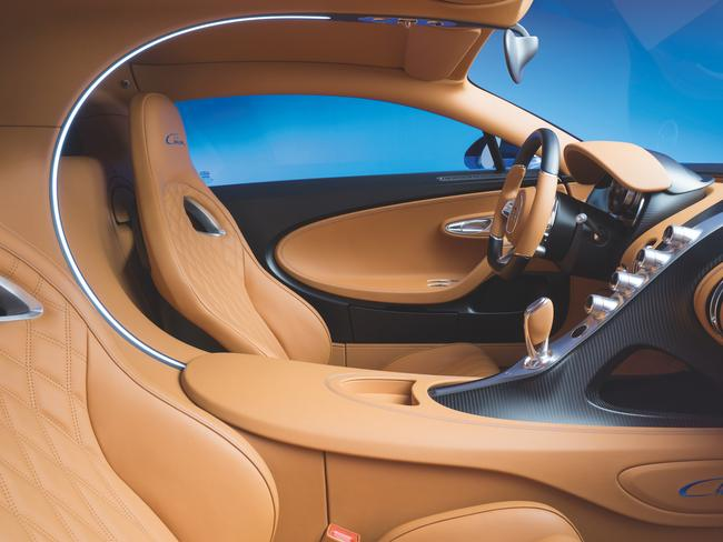 Stunning interior ... the Bugatti Chiron supercar has been unveiled at the 2016 Geneva motor show. Picture: Supplied