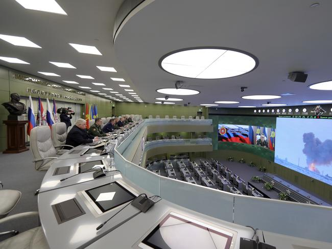 The Defense Ministry's control room in Moscow, Russia, when the Avangard was launched from the Dombarovskiy missile base in the southern Ural Mountains. The Kremlin says it successfully hit a designated practice target on the Kura shooting range on Kamchatka, 6000 kilometers away. Picture: AP