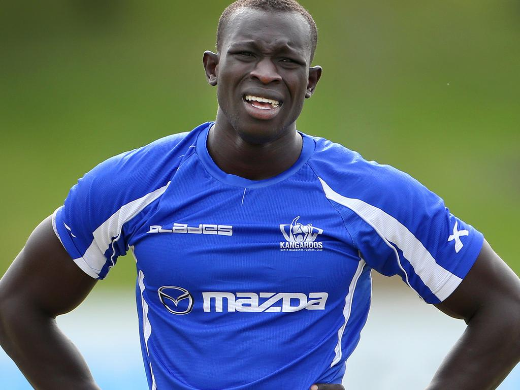 Majak Daw pictured at North Melbourne Football Club training at Aegis Park in Melbourne, July 24, 2013.