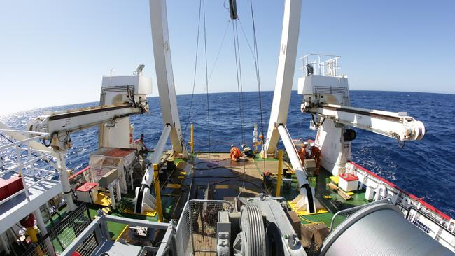 Searching ... Fugro Discovery heading out to the search zone in the southern Indian Ocean yet again. Pic: Supplied.