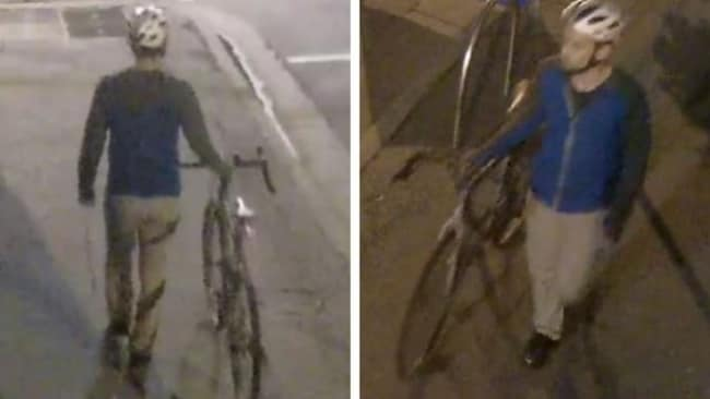 He was wearing a grey and blue zip-up hoodie, light coloured pants and a cycling helmet. Image: Supplied