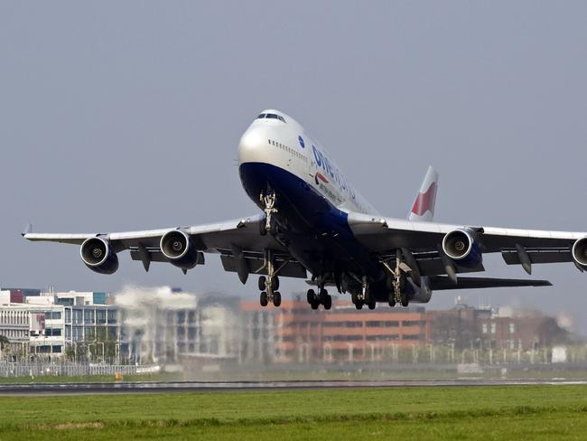 A British Airways 747 plane takes off from Heathrow Airport.