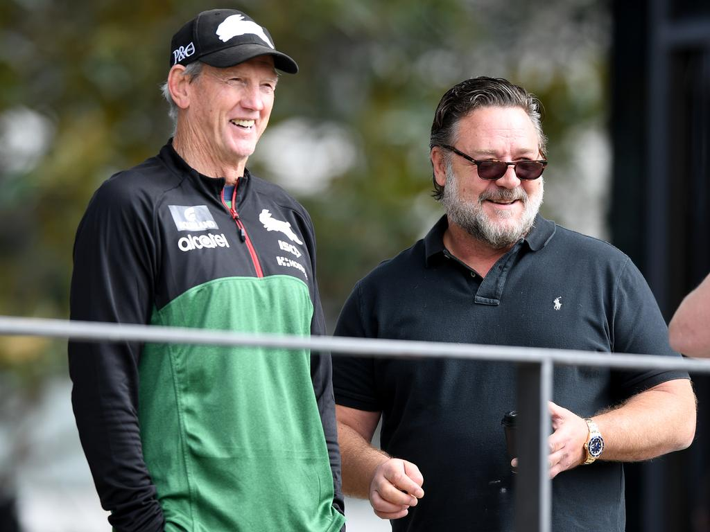 Actor Russell Crowe and coach Wayne Bennett seen during a South Sydney Rabbitohs training session in Sydney, Tuesday, September 10, 2019. The Rabbitohs are set to play the Sydney Roosters in an NRL Finals match at the SCG on Friday. (AAP Image/Joel Carrett) NO ARCHIVING